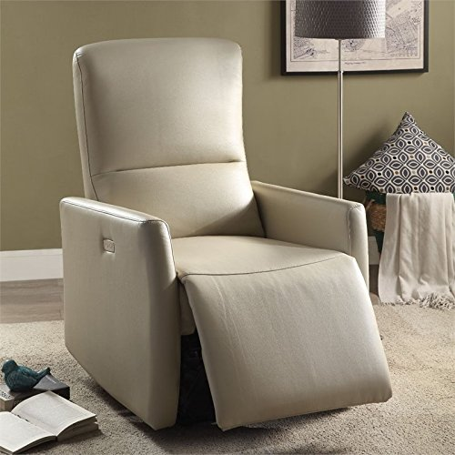 Acme Furniture 59408 Raff Power Motion Recliner, Beige Leather-Aire