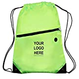 "Custom Printed Drawstring Cinch Backpacks with Zippered Front Pocket - 50 Quantity - $5.50 Each - Promotional Product / Customized with Your Logo (13.5"" W x 18"" H) (Lime Green)"