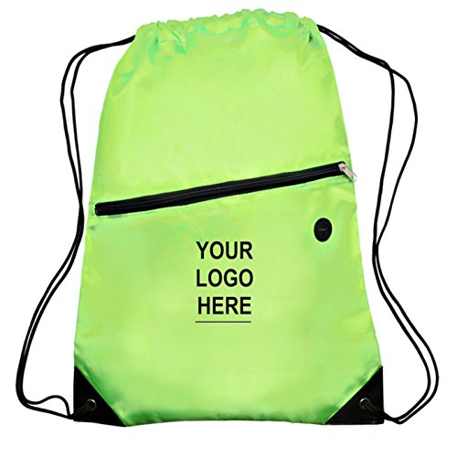 "Custom Printed Drawstring Cinch Backpacks with Zippered Front Pocket - 50 Quantity - $5.50 Each - Promotional Product / Customized with Your Logo (13.5"" W x 18"" H) (Lime Green) by The Spoiled Office"