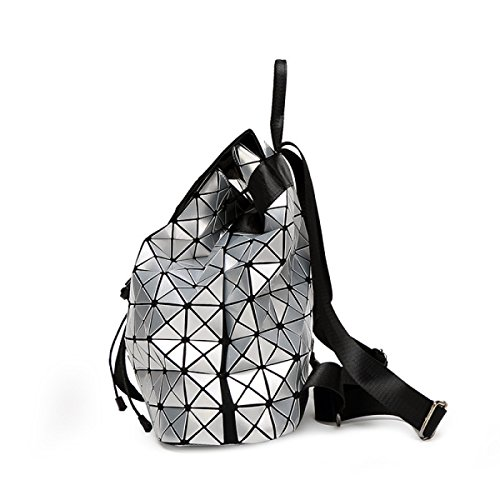 Laser Silver Japanese Ge Ling Travel Ms Cube Folding Backpack Large Leather Rubik's Patent Geometry Backpack Handbags fnwFqdH