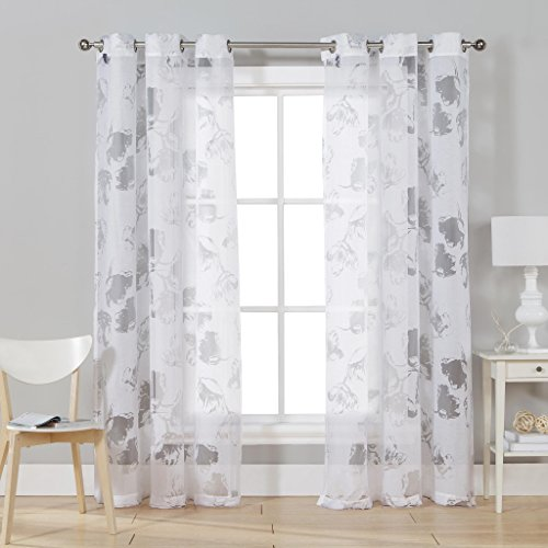 D.R.T Floral Sheer Burnout Print Grommet Top Window Curtain Pair Panel Insulated Drapes For Bedroom, Livingroom, Kids, Children, Nursery - Assorted Colors - 38 by 84 Inches, 2 Pieces - White