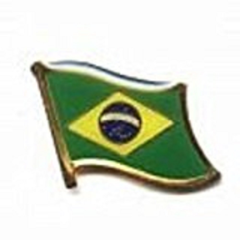 Brazil Brasil Country Flag Small Metal Lapel Pin Badge .. 3/4 X 3/4 Inches ... New