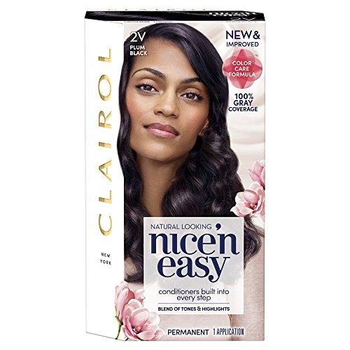 Clairol Nice 'n Easy Permanent Hair Color, 2V Plum Black, 1 Count, Blacks