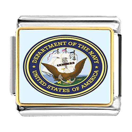 GiftJewelryShop Gold Plated Character Navy Seal Bracelet Link Photo Italian Charm Bracelets
