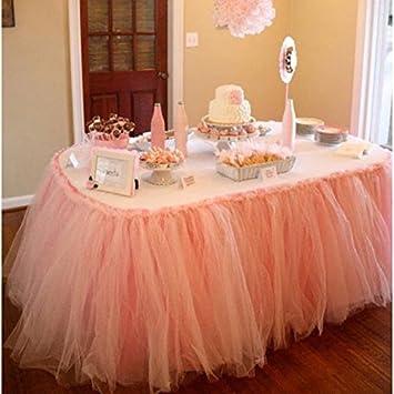 Amazon handmade tutu table skirt tulle tableware for baby handmade tutu table skirt tulle tableware for baby shower birthday party wedding even cake table girl junglespirit Gallery