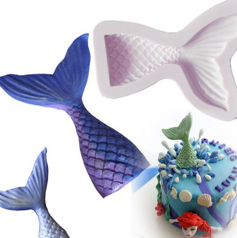 Small Size Christening Mermaid Tail Silicone Mold Fondant Cupcake Cake Decorating Baking Tools Handmade Soap Mold Fish Fork Tail