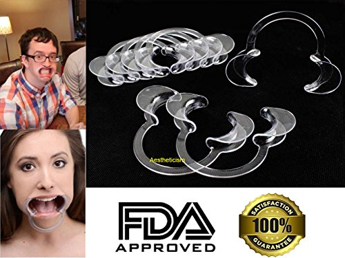 """Aestheticism Dental Intraoral Cheek Lip Retractor (Kid Size) Mouth Opener for Fun Speaking Game """"Watch Ya Mouth"""" & """"Speak Out"""", Mouth Guard Challenge   C-Shape 12 Pack (NEW 2017 MODEL)"""