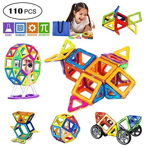 Magnetic Blocks, 110 PCS Magnetic Tiles for Kids, Magnetic Building Blocks Set Educational Toys for Boys and Girls