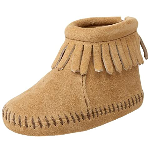 Minnetonka Back Flap Bootie (Toddler),Tan,4 M US Toddler