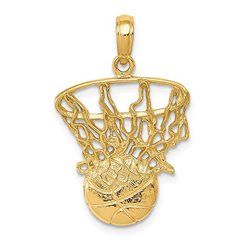 14k Yellow Gold Swoosh Basketball Net Pendant Charm Necklace Sport Man Fine Jewelry Gift For Dad Mens For Him