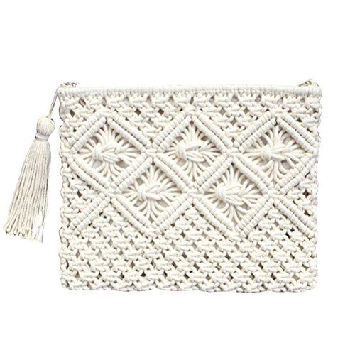 Crochet Fille Abuyall De Sac Enveloppe Vintage D'¨¦t¨¦ Pt4 Pochette Gland Plage Tiss¨¦ Paille FHURTUqw