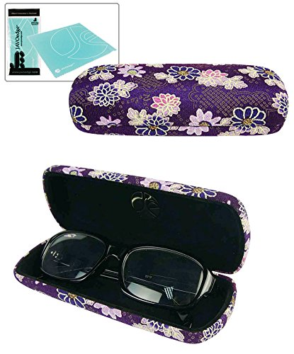 JAVOedge (Purple) Japanese Flower Blossom Pattern Soft Cloth Eyeglass Case With Bonus Microfiber - Japanese Eyeglasses