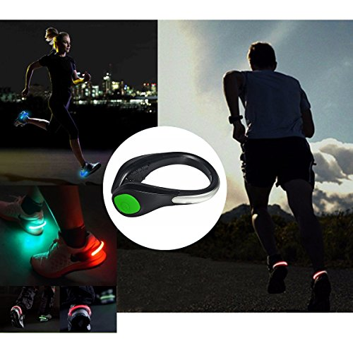 TEQIN Black Shell Green LED Flash Shoe Safety Clip Lights for Runners & Night Running Gear - Reflective Running Gear for Running, Jogging, Walking, Spinning or Biking + Velvet Bag - (Set of 2) by TEQIN (Image #5)