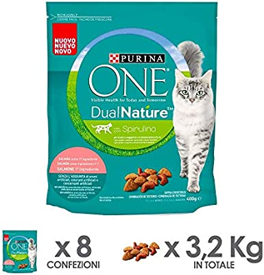 Purina ONE dualnature pienso para Gatos Adultos Rico de salmón y con espirulina Natural 8 Piezas