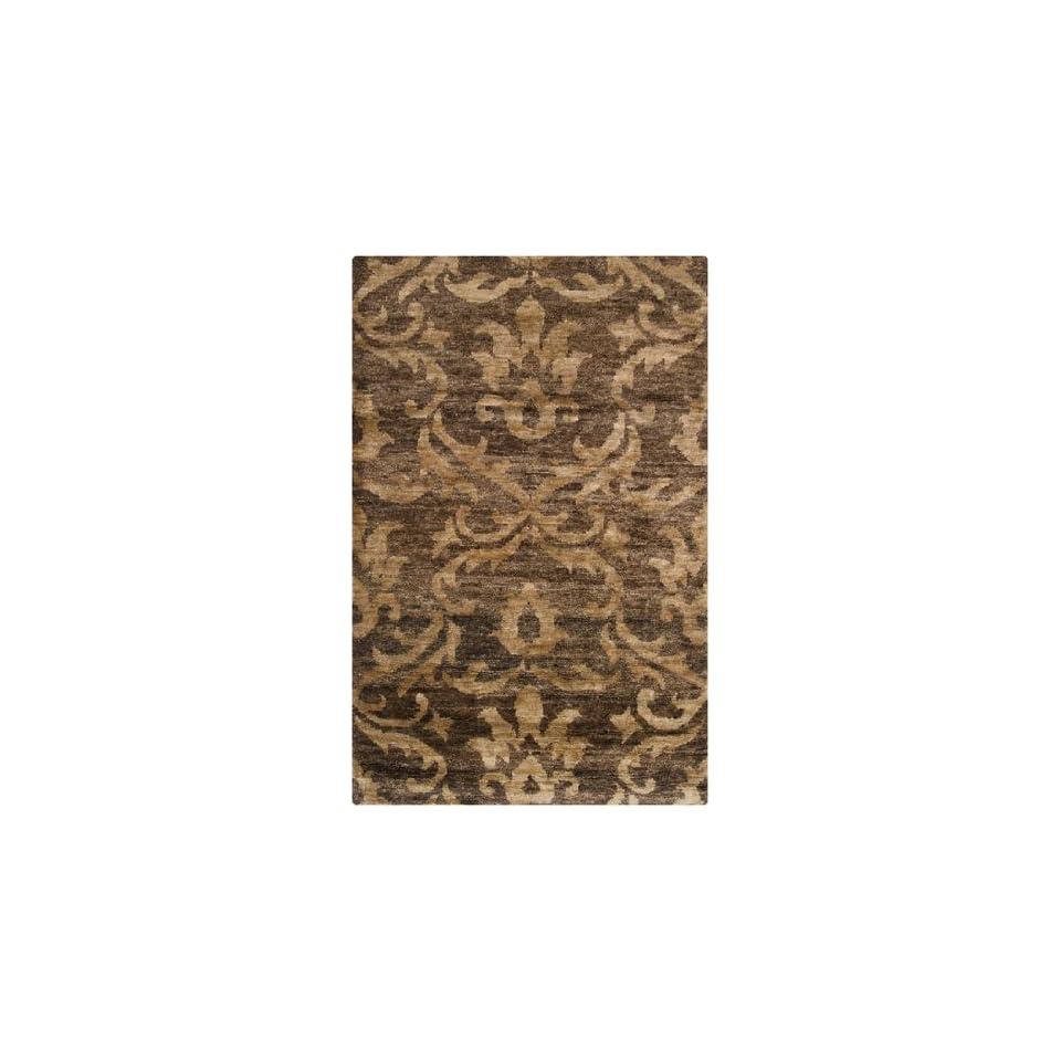 5 x 8 Caribbean Celebration Chocolate Brown and Toffee Brown Hand Woven Hemp Area Throw Rug