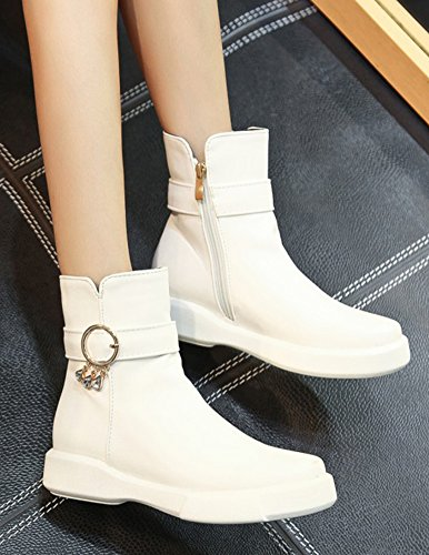 Chaussures Plates Aisun Rangers Boots Strass Bottines Low Blanc Femme Mode IqIpwtg