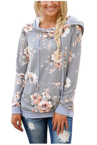 Aifer Women's Floral Printed Hoodies Tops Hooded Pullover Sweatshirts Casual Long Sleeve Sweatshirts