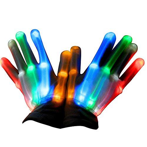 Kangkang@ 1 Pair LED Light Gloves Flashing Cotton Hand Finger Gloves Colorful Lighting for Dancing Carnival Concert Halloween Party (colored) -