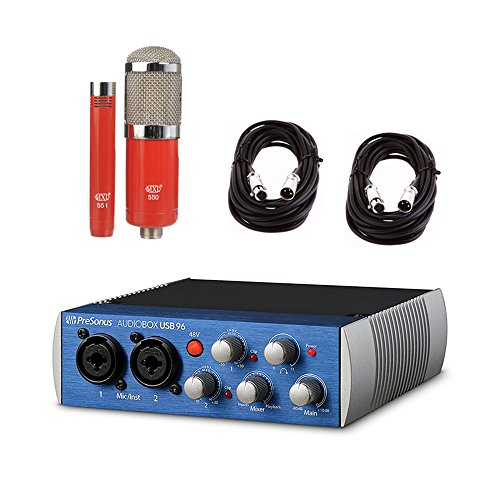 Presonus AudioBox USB 96 Recording Podcast Interfance with MXL 550/551 Condenser Ensemble Microphone Kit (Red) and 2 AxcessAbles XLR-XLR20 Audio Cables by PreSonus