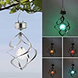 Wireless Solar Powered Flash LED roof light with Wind Chimes Wind Spinner Outdoor Hanging Spiral Garden lamp Courtyard Decoration