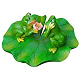 Ibnotuiy Cute Floating Frog Sitting on Lotus Leaf Pond Decor, Funny Outdoor Ornament Resin Frog for Pool Pond Garden Decor (Proposal Frog)