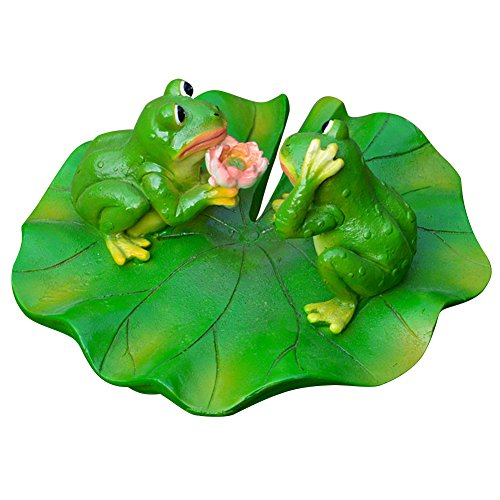 Ibnotuiy Cute Floating Frog Sitting on Lotus Leaf Pond Decor, Funny Outdoor Ornament Resin Frog for Pool Pond Garden Decor (Proposal Frog) by Ibnotuiy