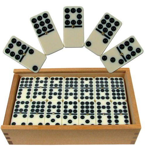 Premium Set of 55 Double Nine Dominoes with Wood Case, Brown 65 Double Handle