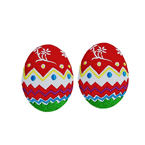 R2K 2Pcs. Easter Egg Iron On Patches - Animal Patches - Applique Embroidered Patches - Iron on Patches - Backpack Patches Egg Applique Flag