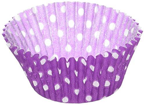 Jubilee Sweet Arts 50 Count Baking Cups, Standard, Purple Polka Dot -