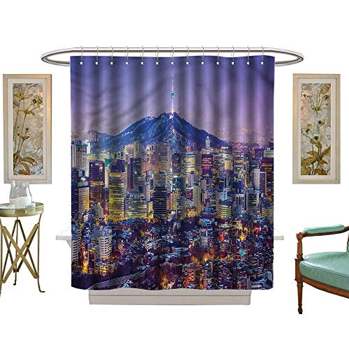 Halloween Shower Curtain,Modern,South Korean Mountain Town,Water Repellent, Machine Washable - Hotel Quality59 W x 78