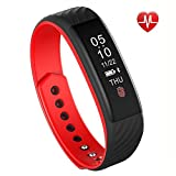 Fitness Tracker Smart Wristband Bracelet with Heart Rate Monitor, IP67 Waterproof Wireless Bluetooth 4.0 Call Remind Auto Sleep Monitor Sport Pedometer Activity Tracker for Android IOS (Black+red)