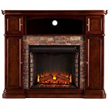 Southern Enterprises Hillcrest Faux Stone Fireplace TV Stand in Brown