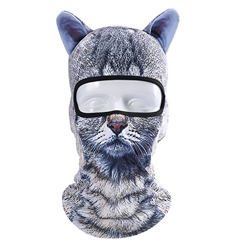 3D Animal Balaclava Face Mask with Ears Breathable Fashion Animal Style Headgear Hats for Outdoor Sports Motorcycle Cycling Skiing Halloween Party Cosplay (BBG-09)