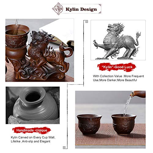 Chinese Hot Tea Service Set Handmade Automatic Kylin Design Firewood Crude Pottery Kongfu Teapot W/ 8 Teacup Clay Gift Set for Adults Parents Tea Lovers Business Friend Wedding Christmas Decor by Ufine (Image #4)