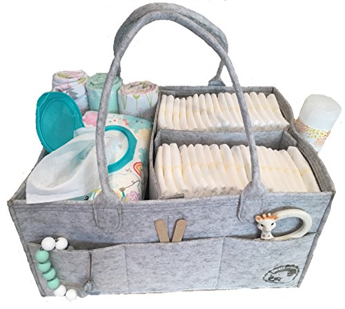 Diaper Caddy By Littlest Sweet: Nursery and Car Organizer, Changing Table Bag, Large Pockets And Compartments, Baby Diaper Stacker Bin, Also Used to Hold Snacks, Bottles, Bibs, Toys And Pacifiers from Littlest Sweet