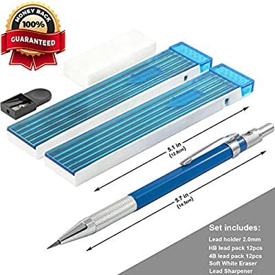 2mm Lead Holder Set - Professional Mechanical Drafting Pencil - 12xHB & 12x4B Lead Refills - 2mm Lead Pointer and Soft Eraser - Perfect for Sketching and Drawing