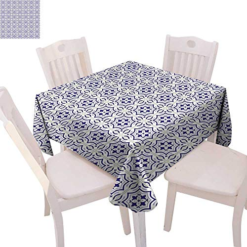 cobeDecor Navy Blue Stain Resistant Wrinkle Tablecloth Portuguese Tile Design Traditional Azulejo Retro Style Mosaic Square Wrinkle Resistant Tablecloth 36