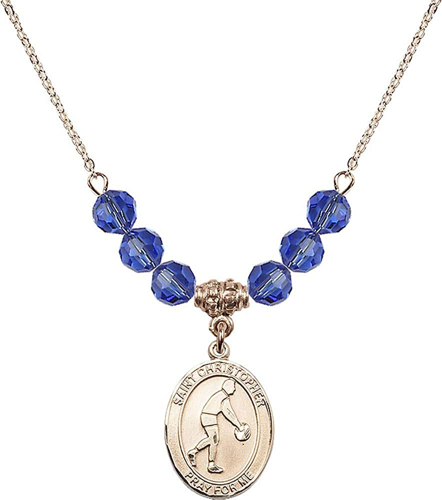 18-Inch Hamilton Gold Plated Necklace with 6mm Light Sapphire Birthstone Beads and Saint Christopher Charm Patron Saint of Travelers//Motorists