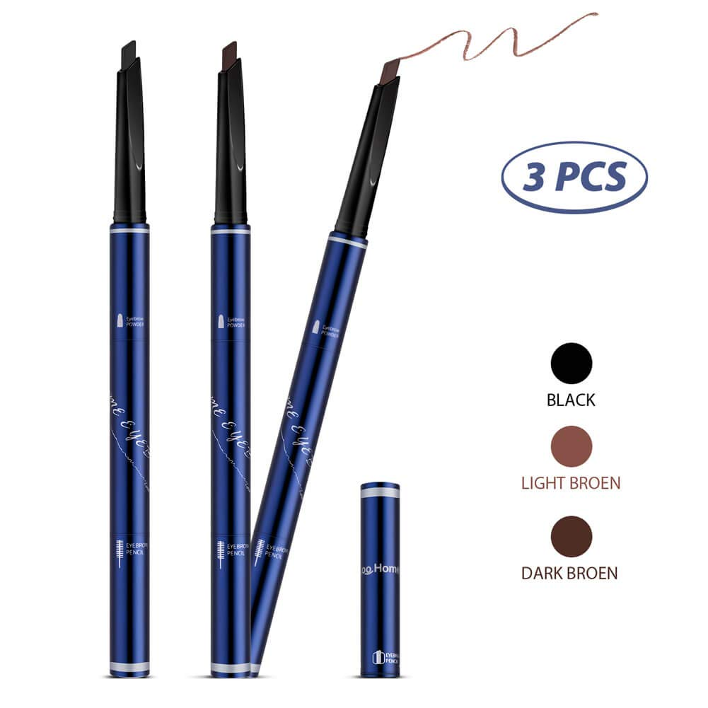 Eyebrow Pencil, 3 Color Brown/Dark-Brown/Black, Waterproof Long Lasting Sweat Proof, Automatic Retractable Pencil Makeup Cosmetic Tool Derwe