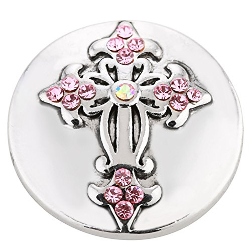 ® morella click-button bouton pression pour femme en forme de croix en argent avec pierres de zircone roses