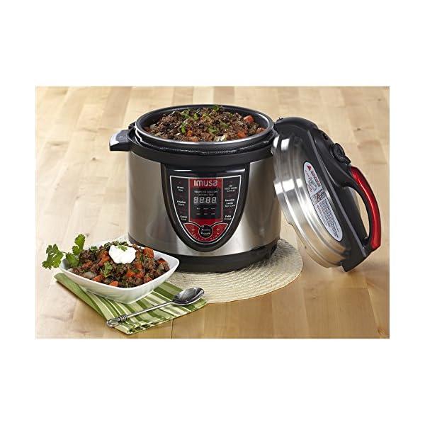 IMUSA USA 5Qt Electric Stainless Steel 5-Qt. Bilingual Digital Pressure Cooker, Red (Insta-Pot) 5