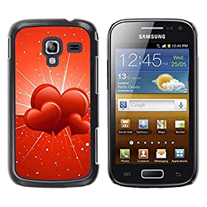 Exotic-Star ( Three hearts ) Fundas Cover Cubre Hard Case Cover para Samsung Galaxy Ace 2 I8160 / Ace2 II XS7560M
