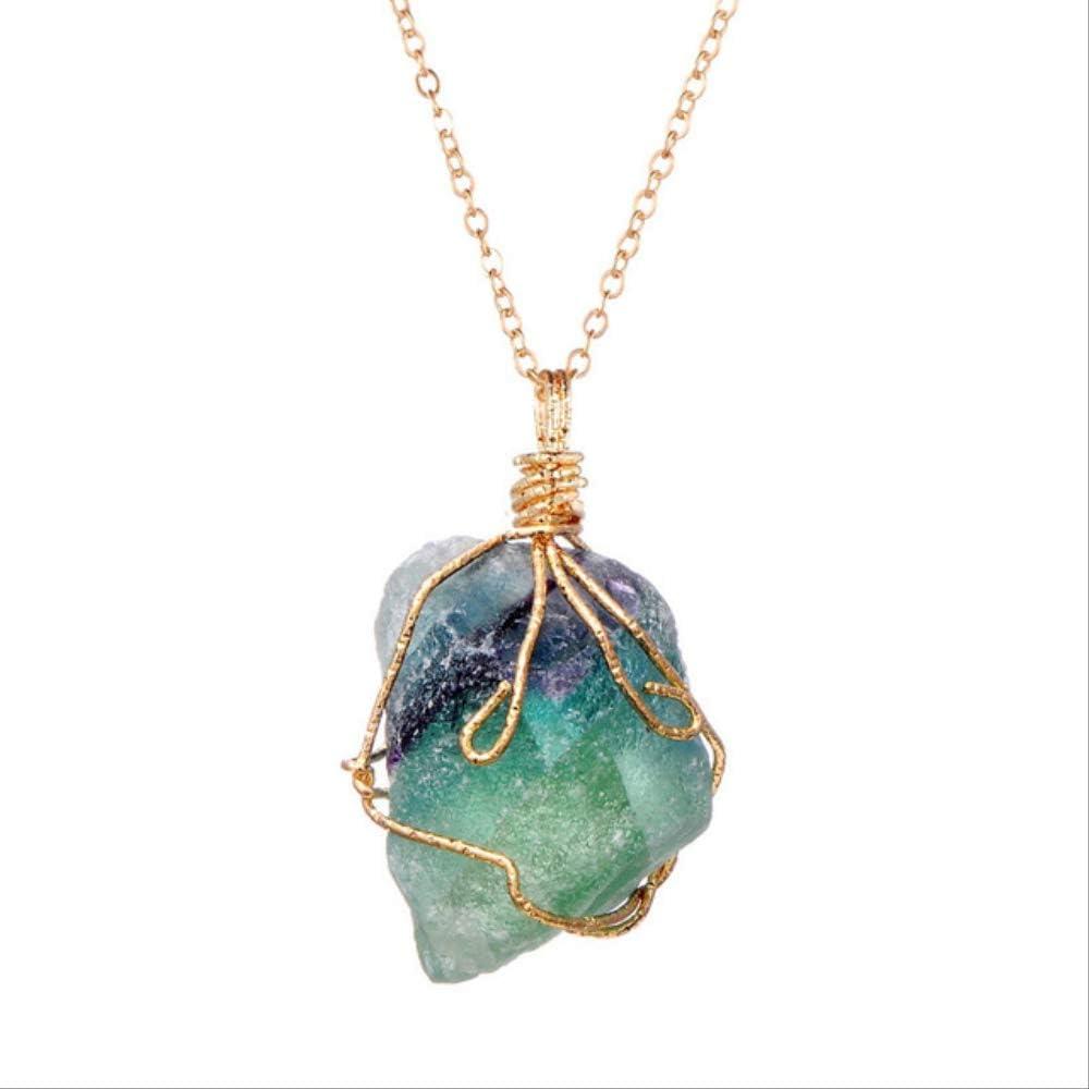 ruofengpuzi 1 Pieza Piedra De Arco Iris Cristal Natural Chakra Collar De Roca Colgante De Cuarzo Chapado En Oro Dorado Regalo De Buen Amigo