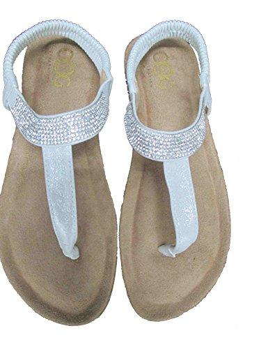 OOG Damen Zehentrenner Sandale Strass Glitzer Metallic Offener Sommer Schuhe Weiß