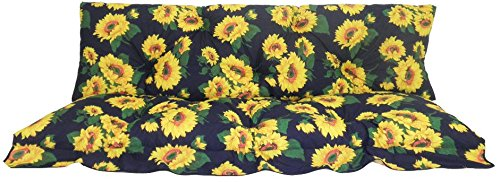 Two pieces for a three seater canopy swing cushion in dark blue with sunflowers Gartenstuhl-Kissen