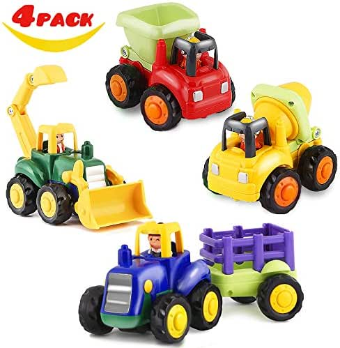 HISTOYE Toy Trucks for 1 2 3 4+ Year Old Boys, Friction Powered Cars for ToddlersConstruction Toys Set of 4 Dump Truck Toy, Tractor Toys, Bulldozer, Cement Mixer Truck, Preschool Gifts Boys & Girls