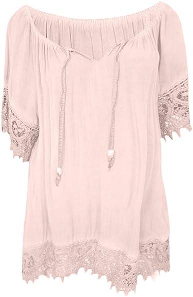 Camisetas Mujer Camisa Manga Corta Color sólido Tamaño Grande ...