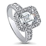 BERRICLE Rhodium Plated Sterling Silver Emerald Cut Cubic Zirconia CZ Halo Engagement Ring Size 7