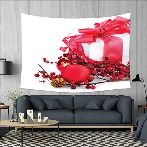 smallbeefly Christmas Tapestry Wall Hanging 3D Printing New Year Box with Berries Pine Cone and Baubles End of The Year Party Theme Beach Throw Blanket 60