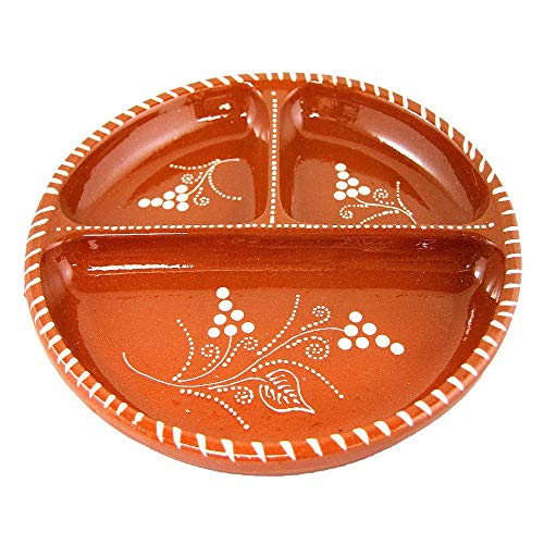 10 Inches Vintage Portuguese Glazed Terracotta Clay Hand-painted Appetizer Serving Dish